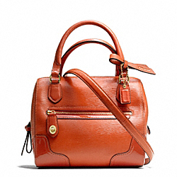 POPPY TEXTURED PATENT MINI SATCHEL - f49931 - BRASS/DESERT SKY