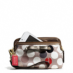 COACH POPPY WATERCOLOR DOT PRINT DOUBLE ZIP WRISTLET - ONE COLOR - F49934