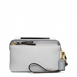 COACH POPPY COLORBLOCK LEATHER DOUBLE ZIP WRISTLET - ONE COLOR - F49936