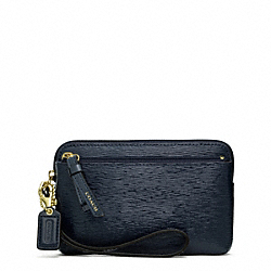 COACH POPPY TEXTURED PATENT DOUBLE ZIP WRISTLET - BRASS/NAVY - F49937