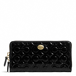 COACH PEYTON OP ART EMBOSSED PATENT ACCORDION ZIP - BRASS/BLACK - F49962