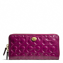 COACH PEYTON OP ART EMBOSSED PATENT ACCORDION ZIP - BRASS/PASSION BERRY - F49962