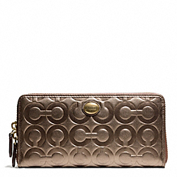 COACH PEYTON OP ART EMBOSSED PATENT ACCORDION ZIP - BRASS/BRONZE - F49962