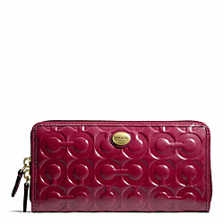 COACH PEYTON OP ART EMBOSSED PATENT ACCORDION ZIP - BRASS/MERLOT - F49962