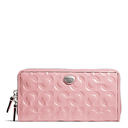 COACH PEYTON OP ART EMBOSSED PATENT ACCORDION ZIP - SILVER/PINK TULLE - F49962