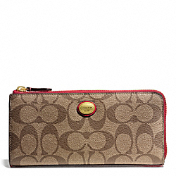 COACH PEYTON SIGNATURE SLIM ZIP - BRASS/KHAKI/RED - F49964