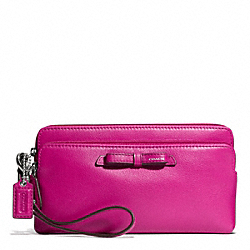 POPPY LEATHER DOUBLE ZIP WALLET COACH F49971