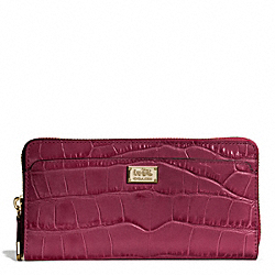COACH MADISON EMBOSSED CROC ACCORDION ZIP WALLET - LIGHT GOLD/MERLOT - F49976