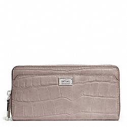 COACH MADISON EMBOSSED CROC ACCORDION ZIP WALLET - SILVER/GREY BIRCH - F49976