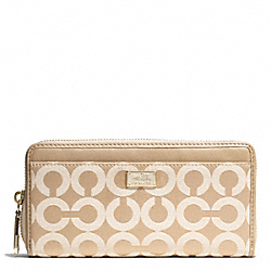 COACH MADISON OP ART SATEEN FABRIC ACCORDION ZIP WALLET - LIGHT GOLD/LIGHT KHAKI/CHAMPAGNE - F49983