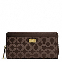 COACH MADISON OP ART SATEEN ACCORDION ZIP WALLET - LIGHT GOLD/MAHOGANY - F49983