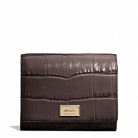 COACH MADISON CROC EMBOSSED LEATHER COMPACT CLUTCH -  - f49988