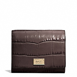 COACH MADISON CROC EMBOSSED LEATHER COMPACT CLUTCH - ONE COLOR - F49988