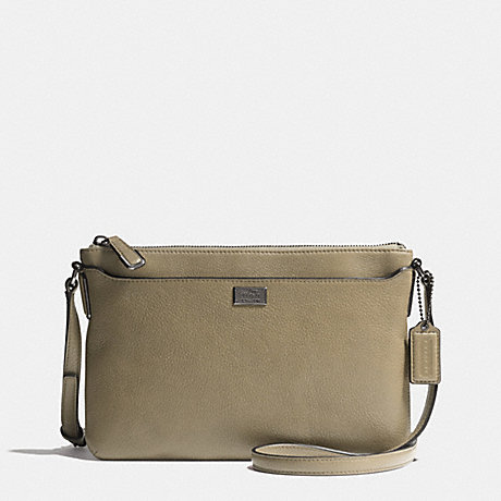 COACH f49992 MADISON SWINGPACK IN LEATHER  BLACK ANTIQUE NICKEL/OLIVE GREY