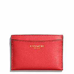 COACH SAFFIANO LEATHER FLAT CARD CASE - LIGHT GOLD/LOVE RED - F49996
