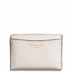 COACH SAFFIANO LEATHER FLAT CARD CASE - LIGHT GOLD/PARCHMENT - F49996