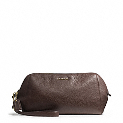 COACH MADISON LEATHER ZIP TOP LARGE WRISTLET - LIGHT GOLD/MIDNIGHT OAK - F49997
