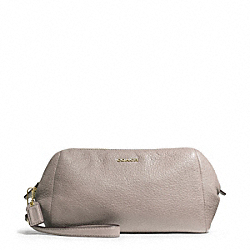 COACH MADISON LEATHER ZIP TOP LARGE WRISTLET - LIGHT GOLD/GREY BIRCH - F49997