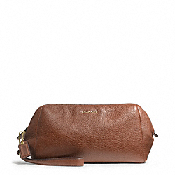 MADISON LEATHER ZIP TOP LARGE WRISTLET - f49997 - LIGHT GOLD/CHESTNUT