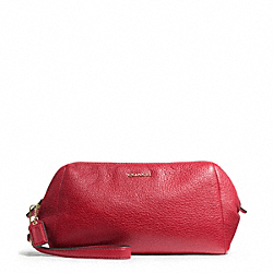 COACH MADISON LEATHER ZIP TOP LARGE WRISTLET - LIGHT GOLD/SCARLET - F49997