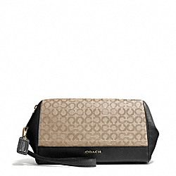 COACH MADISON NEEDLEPOINT OP ART FABRIC ZIP TOP LARGE WRISTLET - LIGHT GOLD/KHAKI/BLACK - F50000