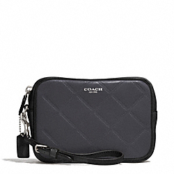 COACH EMBOSSED QUILTED LEATHER FLIGHT WRISTLET - SILVER/BLACK MULTI - F50037