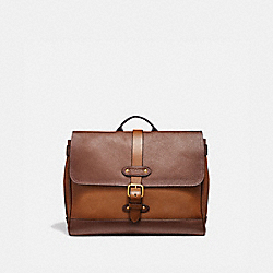 HUDSON SMALL MESSENGER IN COLORBLOCK - DARK BROWN MULTI/ANTIQUE BRASS - COACH F50050
