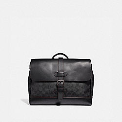 HUDSON SMALL MESSENGER IN SIGNATURE CANVAS - BLACK/BLACK/OXBLOOD/BLACK COPPER FINISH - COACH F50051