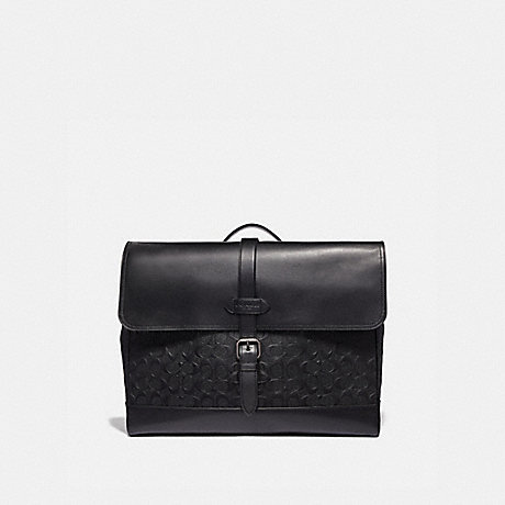 COACH HUDSON MESSENGER IN SIGNATURE LEATHER - BLACK/BLACK ANTIQUE NICKEL - F50052