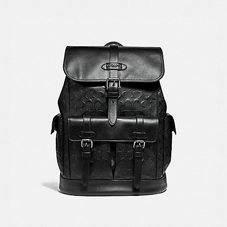 COACH HUDSON BACKPACK IN SIGNATURE LEATHER - BLACK/BLACK ANTIQUE NICKEL - F50053