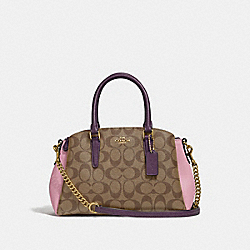 MINI SAGE CARRYALL IN COLORBLOCK SIGNATURE CANVAS - TULIP/KHAKI/GOLD - COACH F50054