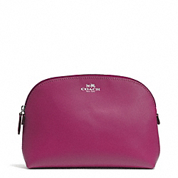 DARCY LEATHER COSMETIC CASE - SILVER/MERLOT - COACH F50060