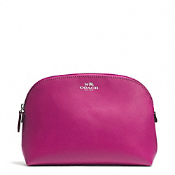 COACH DARCY LEATHER COSMETIC CASE - SILVER/RASPBERRY - F50060