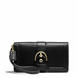 CAMPBELL LEATHER BUCKLE DEMI CLUTCH COACH F50061