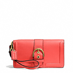 COACH CAMPBELL LEATHER BUCKLE DEMI CLUTCH - BRASS/HOT ORANGE - F50061