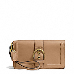 COACH CAMPBELL LEATHER BUCKLE DEMI CLUTCH - BRASS/CAMEL - F50061
