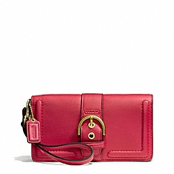 COACH CAMPBELL LEATHER BUCKLE DEMI CLUTCH - BRASS/CORAL RED - F50061