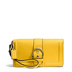 CAMPBELL LEATHER BUCKLE DEMI CLUTCH - BRASS/SUNFLOWER - COACH F50061