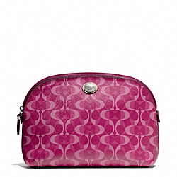 COACH F50064 - PEYTON DREAM C COSMETIC CASE SILVER/BORDEAUX/TAN
