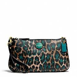 COACH SIGNATURE STRIPE OCELOT PRINT LARGE WRISTLET - BRASS/JADE MULTICOLOR - F50066