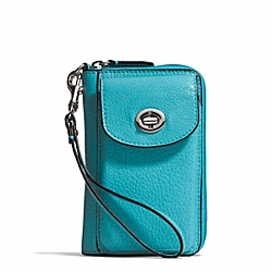 COACH CAMPBELL LEATHER UNIVERSAL ZIP WALLET - SILVER/TURQUOISE - F50070