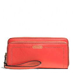 COACH CAMPBELL LEATHER DOUBLE ACCORDION ZIP WALLET - BRASS/HOT ORANGE - F50075