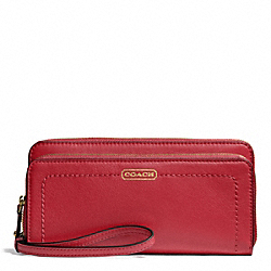 CAMPBELL LEATHER DOUBLE ACCORDION ZIP - f50075 - BRASS/CORAL RED