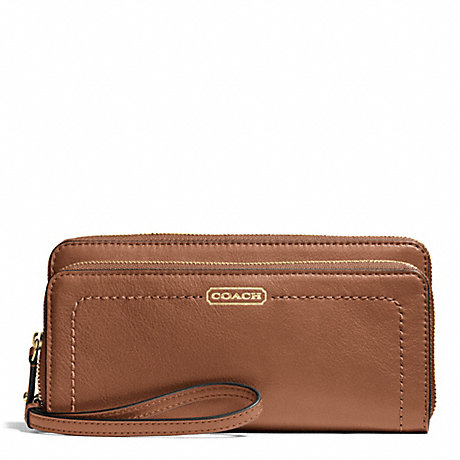 COACH CAMPBELL LEATHER DOUBLE ACCORDION ZIP WALLET - BRASS/SADDLE - f50075