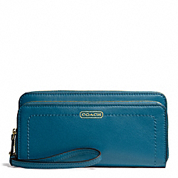 CAMPBELL LEATHER DOUBLE ACCORDION ZIP - f50075 - BRASS/TEAL