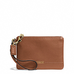 CAMPBELL LEATHER SMALL WRISTLET - f50078 - BRASS/SADDLE
