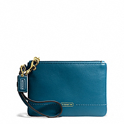 COACH CAMPBELL LEATHER SMALL WRISTLET - BRASS/TEAL - F50078