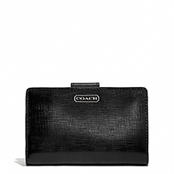 COACH DARCY PATENT LEATHER MEDIUM WALLET - SILVER/BLACK - F50086
