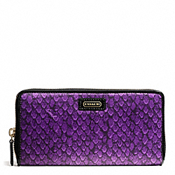 COACH TAYLOR SNAKE PRINT ACCORDION ZIP - BRASS/PURPLE - F50089