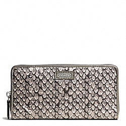 COACH TAYLOR SNAKE PRINT ACCORDION ZIP - SILVER/GUNMETAL - F50089